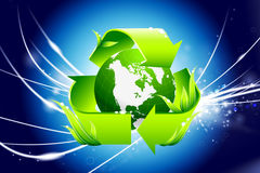 Recycle Globe on Abstract Background Royalty Free Stock Image