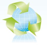 Recycle and globe symbol Royalty Free Stock Photos