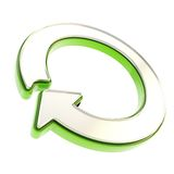 Recycle glossy emblem icon as circle round arrow Stock Photo