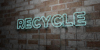 RECYCLE - Glowing Neon Sign on stonework wall - 3D rendered royalty free stock illustration Royalty Free Stock Images