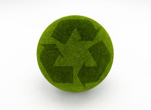 Recycle grass globe. Grass Recycle Symbol. 3d rendering of a grass sphere with recycle symbol vector illustration