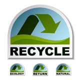 Recycle green arrow stickers Stock Photo