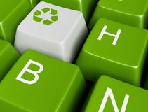Recycle  on green button Royalty Free Stock Photo
