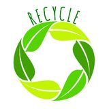 Recycle - green leaves circle logo, vector royalty free illustration