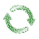 Recycle green and white. Recycle sign made of many nature stuff stock illustration