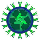Recycle a green world. Planet Earth with people silhouette around the outer edge layered with a recycle symbol Stock Images