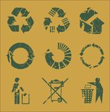 Recycle grungy. Abstract grungy recycle icons stock illustration