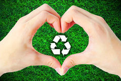 Recycle hand Royalty Free Stock Photos