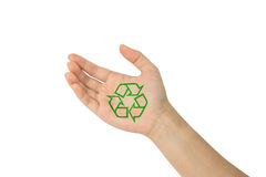 Recycle with in hand Stock Photo