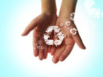 Recycle hands Stock Photography