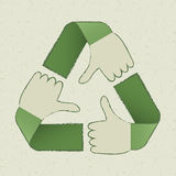 Recycle hands symbol Stock Photo