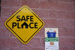 Tampa, Florida / USA - May 5 2018: Recycle Here and Safe Place Public County Signage stock photo
