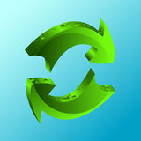 Recycle icon. Illustration on blue background Royalty Free Stock Photos