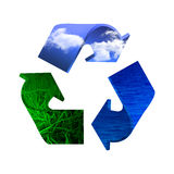 Recycle icon. Made it of sky, water and earth Royalty Free Stock Image