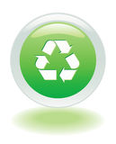 Recycle icon. Green Glowing recycle web button Royalty Free Stock Photography