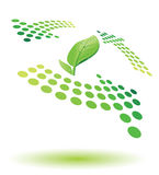 Recycle icon. Green recycle icon with leaf and dew Stock Photo