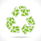 Recycle icon is design with hand Stock Photography