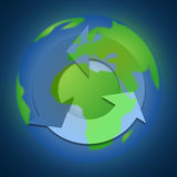 recycle icon on the earth Royalty Free Stock Images