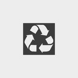 Recycle icon in a flat design in black color. Vector illustration eps10 Stock Images
