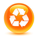 Recycle icon glassy orange round button Stock Images
