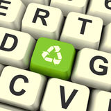 Recycle Icon Green Computer Key Showing Recycling And Eco Friend Stock Image