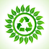 Recycle icon inside the leaf background Stock Images