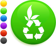 Recycle icon on round internet button Royalty Free Stock Image