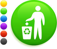 Recycle icon on round internet button.  Royalty Free Stock Photography