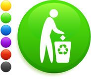 Recycle icon on round internet button. 