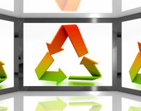 Recycle Icon On Screen Shows Environment Conservation Royalty Free Stock Images