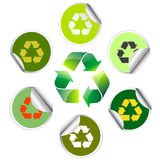 Recycle icon and sticker collection Stock Photography