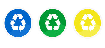 Recycle icons. In colors blue, green and yellow Stock Images