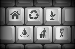 Recycle Icons on Computer Keyboard Buttons Stock Photos