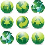 Recycle icons glossy. Glossy recyle & environmental icons vector Stock Images