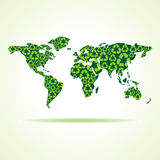 Recycle icons make world map Royalty Free Stock Images