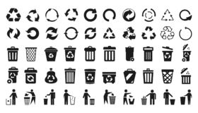 Free Recycle Icons Set And Trash Can Icons With Man - Vector Royalty Free Stock Images - 147369139