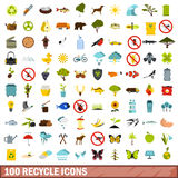 100 recycle icons set, flat style Stock Photography