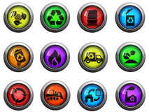 Recycle icons set. Recycle round glossy icons for web site and user interfaces Stock Image