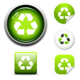 Recycle icons and stickers. Recycle symbol button and sticker icon set Royalty Free Stock Photography