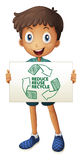 Recycle. Illustration of a boy with a recycling sign Stock Photo