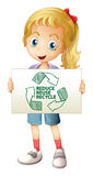 Recycle. Illustration of a girl with a recycling sign Royalty Free Stock Photo