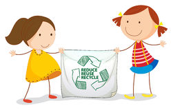 Recycle. Illustration of girls holding a recycling sign Stock Photos