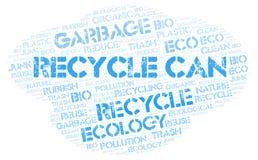 Recycle kann Wortwolke stockfotos