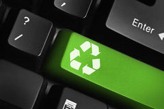 Recycle key. Recycle special green key on a keyboard Stock Photo