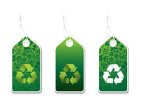 Recycle lables. Lables with sign of recycle and floral ornaments Royalty Free Stock Images