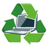 Recycle laptop. Electronic device laptop with recycling symbol. Isolated vector illustration. Waste Electrical and Electronic Equipment - WEEE concept Stock Photography