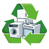 Recycle large electronic appliances. Large electronic home appliances with recycling symbol. Isolated vector illustration. Waste Electrical and Electronic Royalty Free Stock Image