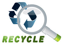 Recycle and lens Royalty Free Stock Image