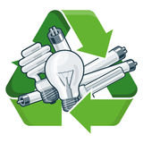 Recycle light bulbs. Used light bulbs with green recycling symbol in cartoon style.  vector illustration on white backround. Waste Electrical and Electronic Royalty Free Stock Image