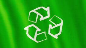 Recycle logo flag. Closeup of art brush watercolor painting white Recycle logo symbol or recycling arrows rotating on green flag which is blown in the wind stock footage
